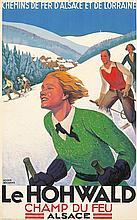 ORIGINAL VINTAGE TRAVEL SKI POSTER LE HOHWALD BY ROGER BRODERS 1930