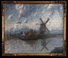 Dutch Windmill Oil On Canvas Painting Moortgat Achilles