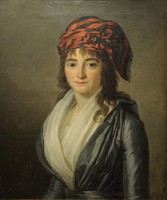 """Attribué à Marie Victoire LEMOINE (1754-1820) Jeune fille au turban rouge et noir. Toile. 64 x 53 cm. (restaurations anciennes). Provenance : - vente Paris, Me Cornette de Saint-Cyr, le 23 juin 1976, attribué à Labille-Guiard, """"Portrait présumé de"""