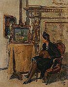 Luigi Surdi Napoli 1897- 1959 Donna nello studio
