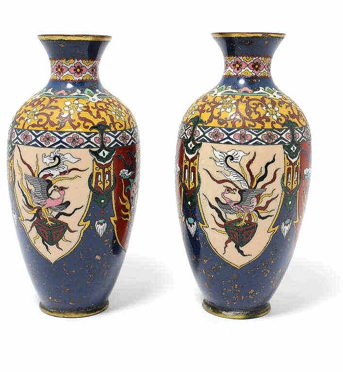 deux petits vases balustres en cuivre et maux cloisonn s po. Black Bedroom Furniture Sets. Home Design Ideas