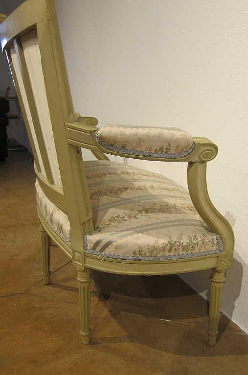 Banquette deux places garniture de tissu blanc et turquoise - Banquette deux places ...