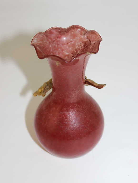 petit vase colerette en verre souffl rose d cor de vign. Black Bedroom Furniture Sets. Home Design Ideas