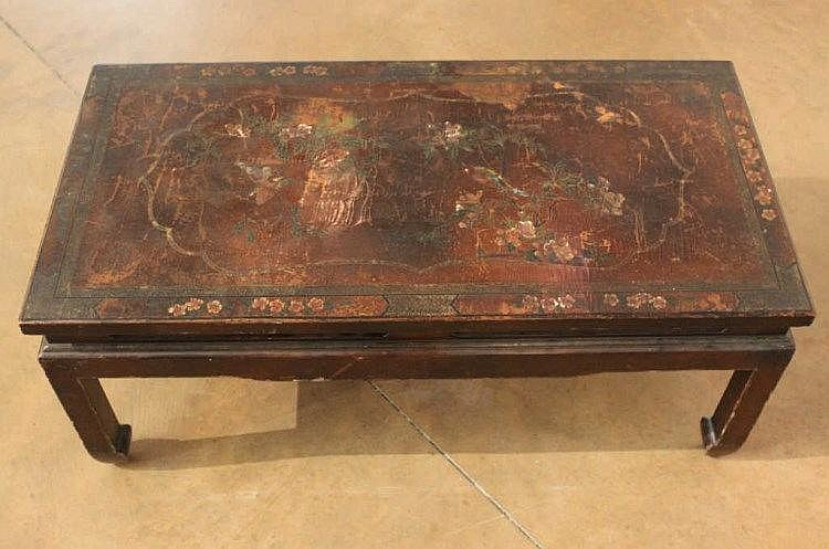 Table basse rectangulaire en bois laqu polychrome d cor - Table basse laque blanche ...