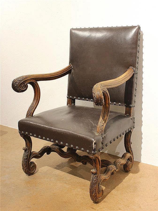 fauteuil style louis xiv dossier plat. Black Bedroom Furniture Sets. Home Design Ideas