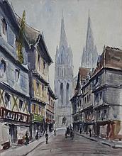 """Maurice BRIARD (1887-?), """"Rue de Quimper animée"""", dessin aquarellé située en bas à gauche, signée en bas à droite, 44 x 35 cm"""
