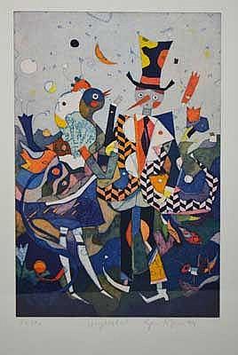 Gerhard Hofmann (1960 Worms) 3-tlg. Konvolut Farbradierungen auf Büttenpapi
