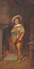 James Devine Aylward (19./20. Jh.) Portrait vor dem Kamin, Öl auf Holz, 24