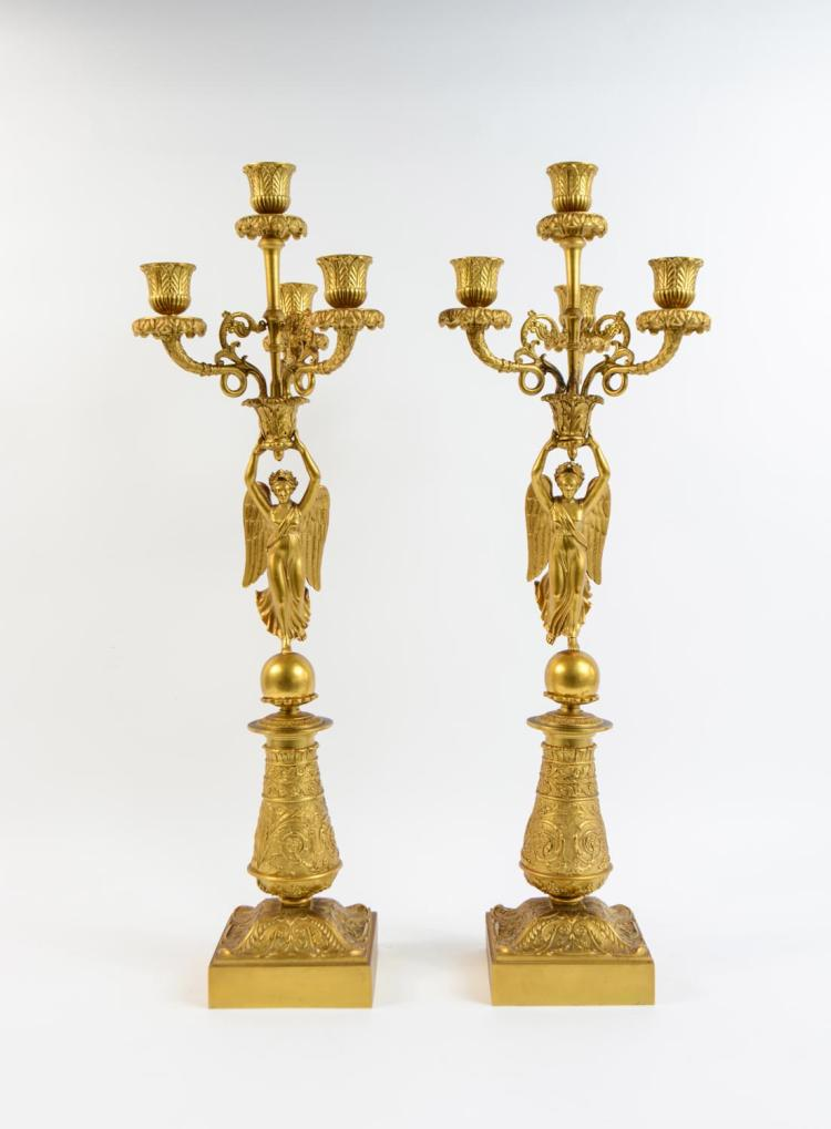 Couple of Empire candlesticks with Victoria figures