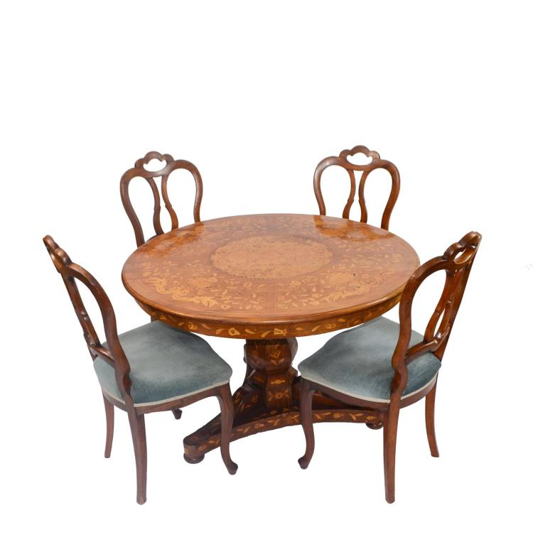 Biedermeier-Salontisch with 4 Louis Philippe chairs