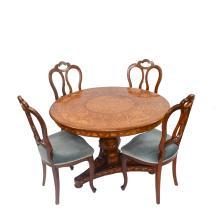 Biedermeier-Salontisch with 4 Louis Philippe chairs