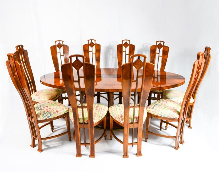 Dining table in Art Deco style with chairs