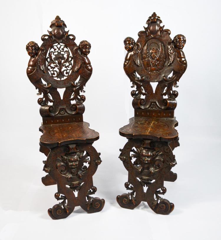 Pair of Sgabelli in Italian Renaissance style