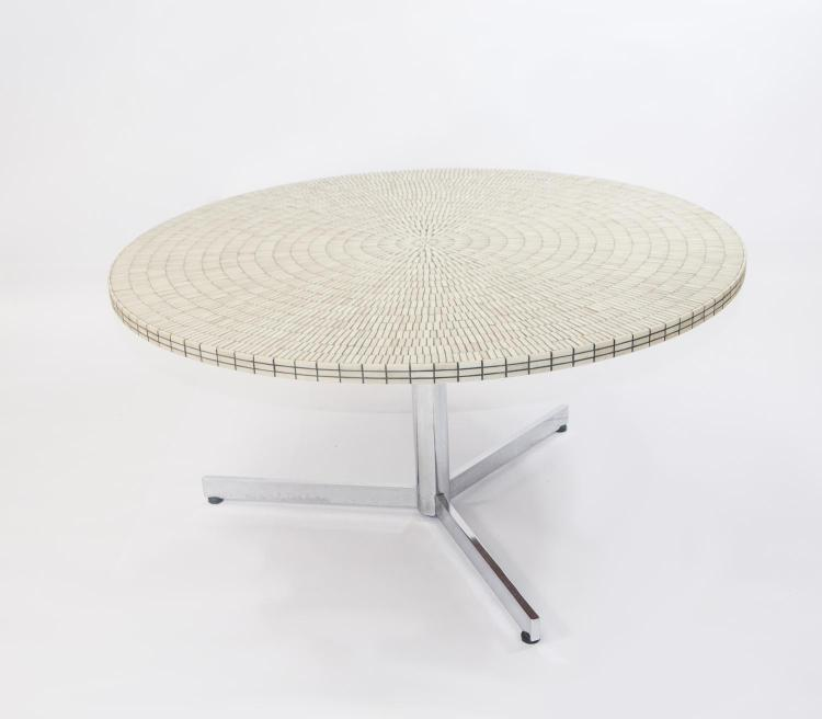Round couch table with flow elements