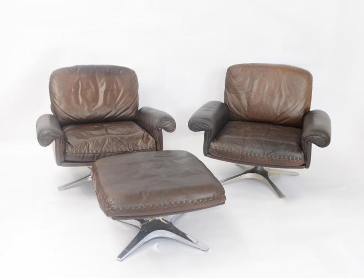 De Sede leather sofa and few armchairs with an ottoman