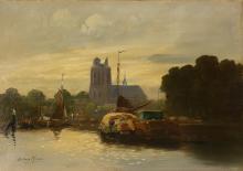Szene am Kanal, Dirk Johannes van Haaren (1878 Amsterdam - 1953) Canal scen