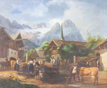 Dorfszene, Peter von Hess (1792 Düsseldorf -1871 München) (attrib.)
