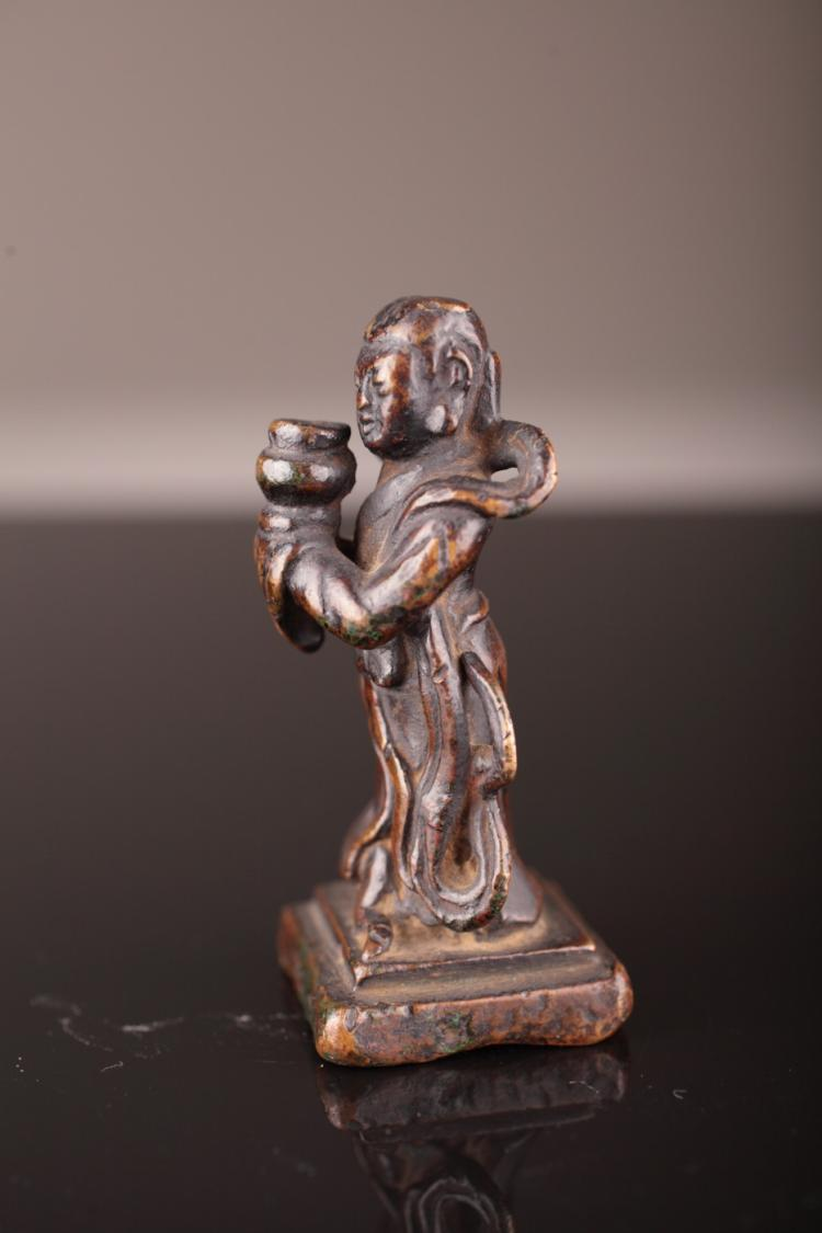 Chinese Ming Dynasty Bronze Acolyte Figure