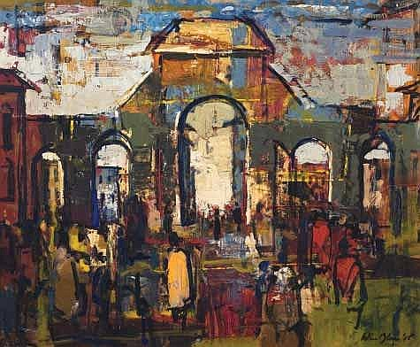 Blom, Wim (SA 1927 - ) City Scene Oil on board,