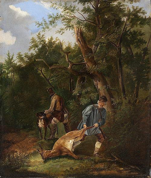 Carl Friedrich Schulz (1796-1866)   - Poachers. 1843