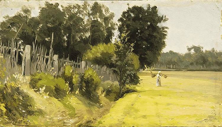 Volkov Yefim Yefimovitch (1844-1920) Summer day in village