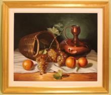 Oil on Canvas Stil Life W/Fruit