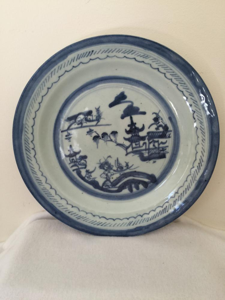 Chinese Naking Style Blue and White Plate