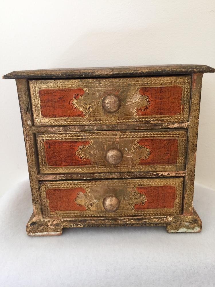 Antique Western Wood Jewelry Box