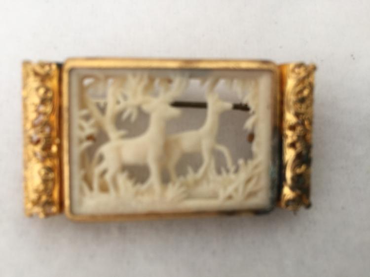 Antique Pre-Ban Ivory double Deers Pendant