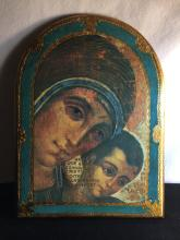 Antique Italy Gilted Wooden Icon