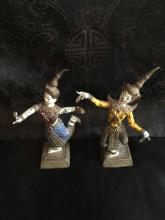 Pair of Gilted/colored Bronze Cambodian Dancing Figures