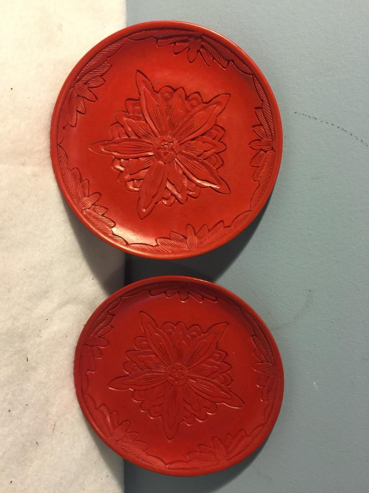 Two Cinnabar Plates
