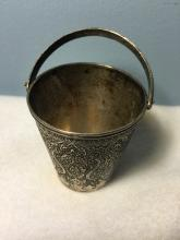 Antique Detail Engarving Middle Eastern Silver Bucket With Handle