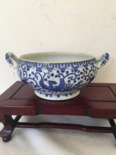 Japanese Blue and White Bowl with Handle