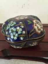 Antique Asian Cloisonne Melon Form Box