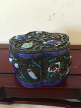 Chinese Melon Surface Cobalt Box With Poison Animals