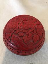 Chinese Cinnabar Circle Box