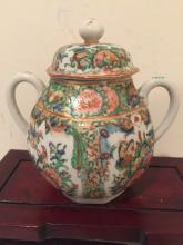 Chinese Canton Famille Rose Suggar Pot With Cover