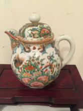 Chinese Canton Famille Rose Coffee Pot With Cover
