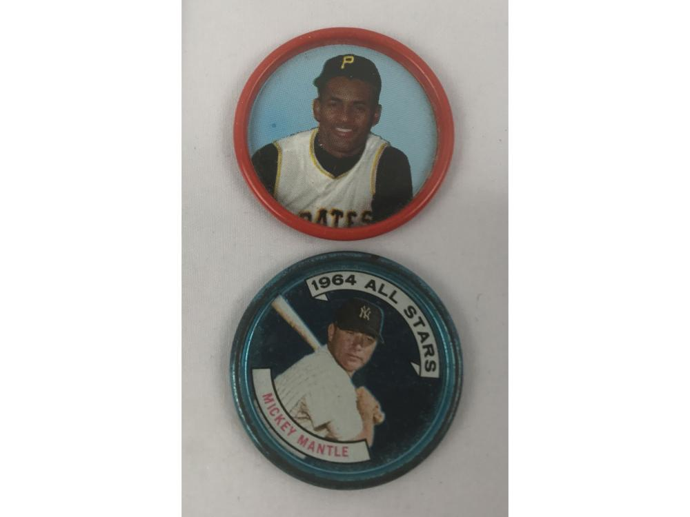 Two Vintage Baseball Coins Mantle/clemente