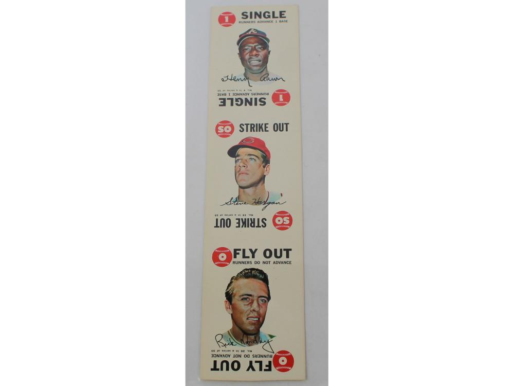 (2) 1968 Topps Game Sheet (aaron/clemente)