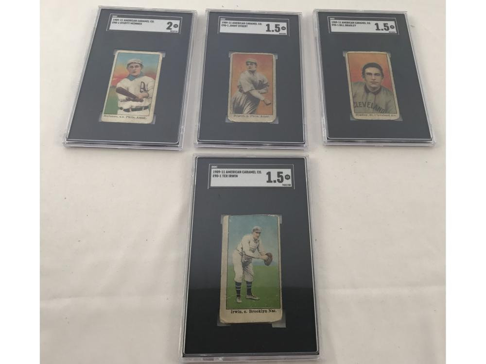 (4) Graded E90-1 American Caramel Cards
