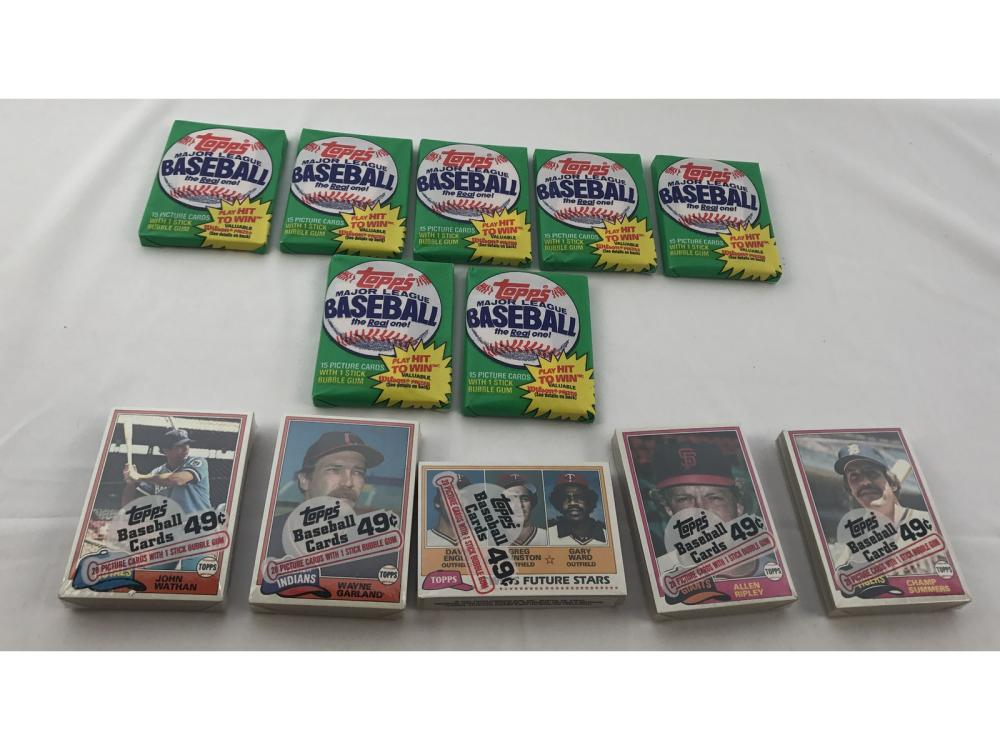 (12) Unopened 81 Topps Wax/cello Packs
