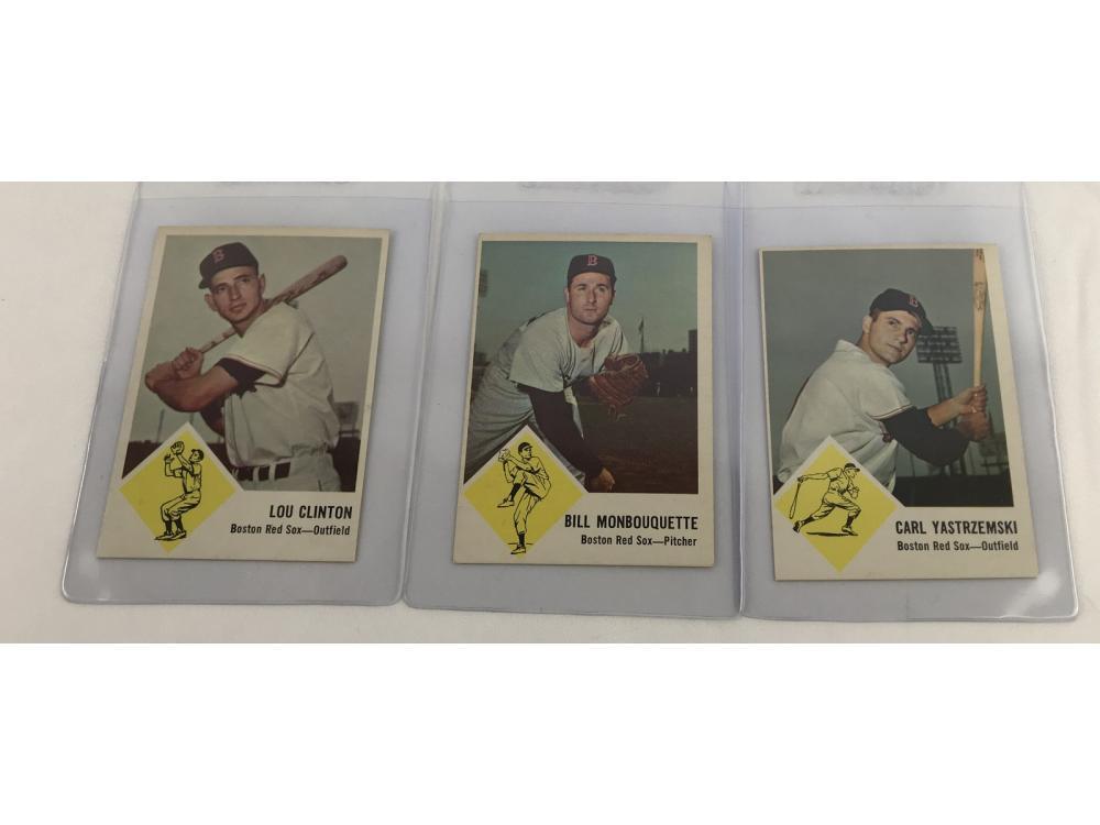 (3) (nm) 1963 Fleer Red Sox (yaz) Bv $130