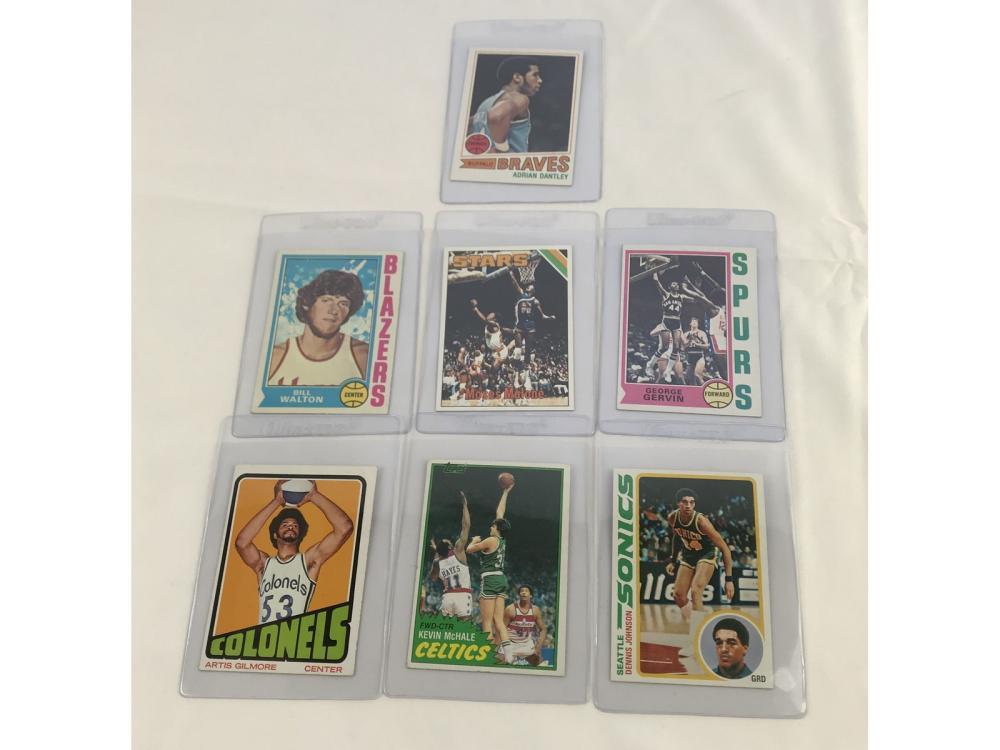 (7) Basketball Rcs (walton/malone/gervin)