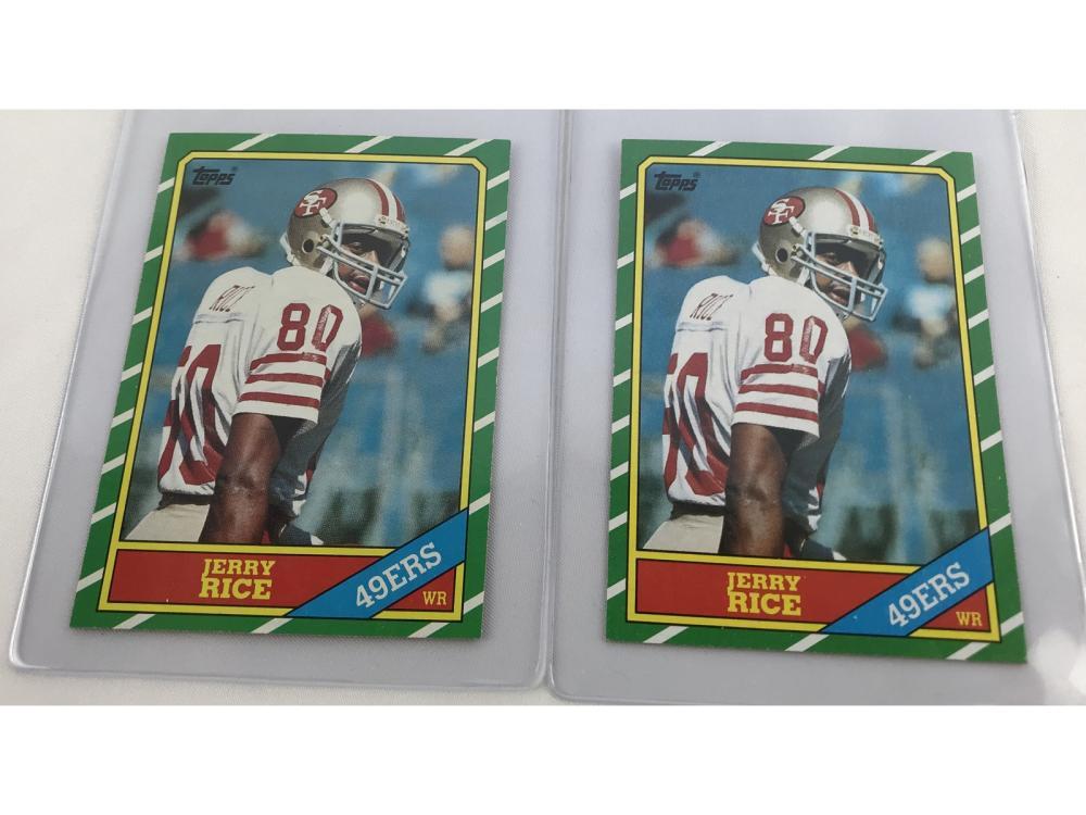 Pair Of High Grade 1986 Topps Jerry Rice Rcs