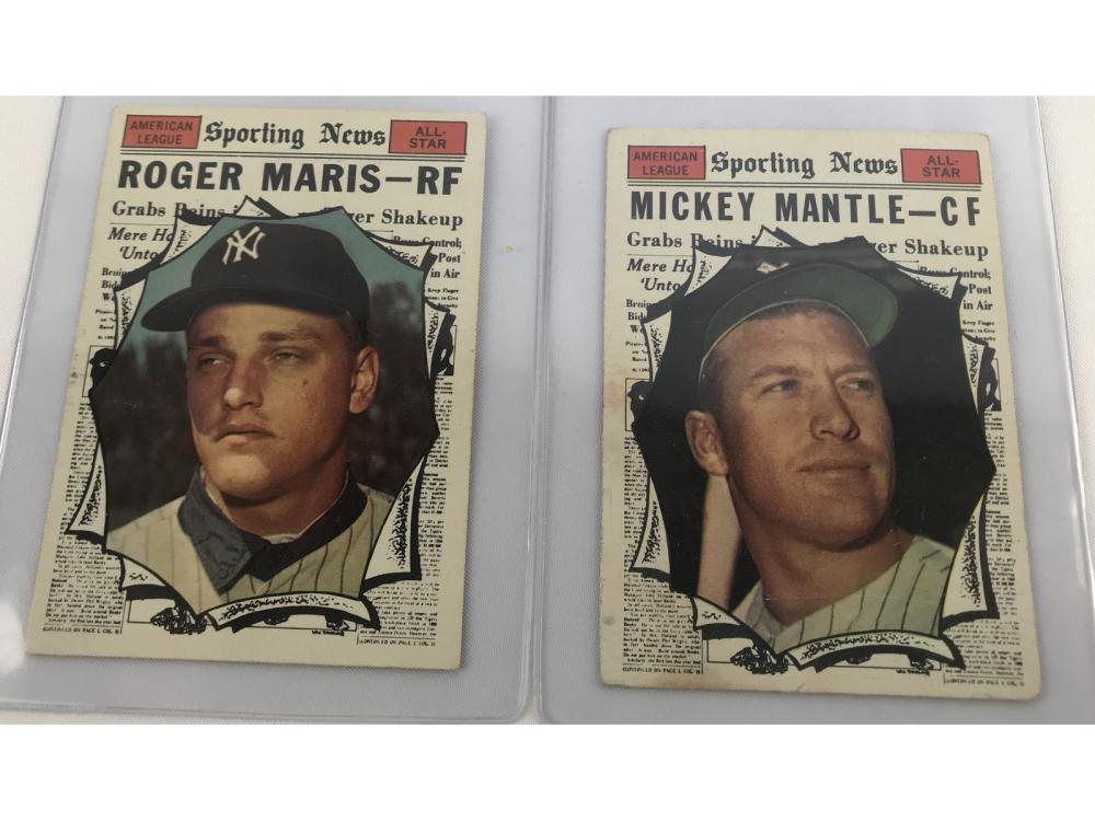 (2) 1961 Topps All Star Bv $700-mantle/maris