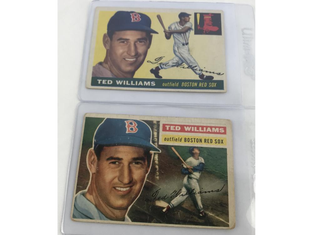 (2) Hof Ted Williams - 1955 & 1956 Topps