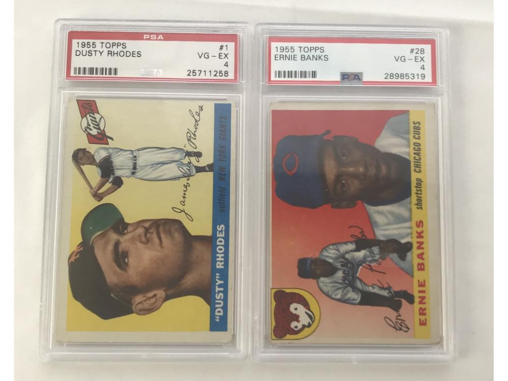 Two 1955 Topps Psa Graded Cards Ernie Banks