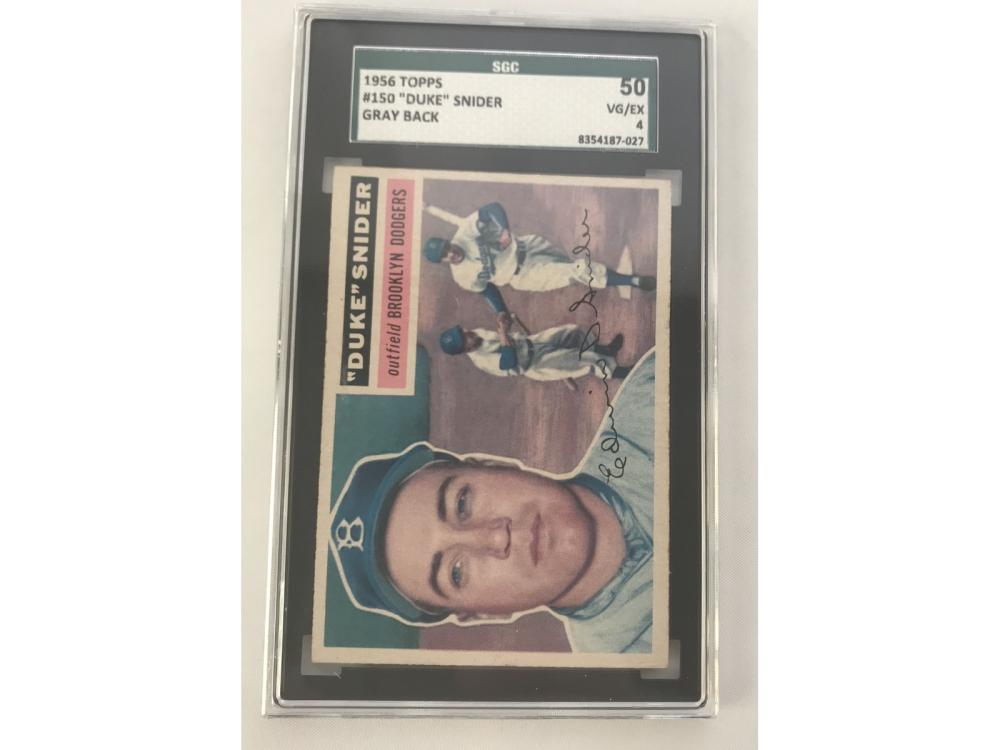 Graded 1956 Topps Duke Snider #150 (gray Back